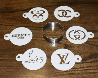 7 Piece Like Designer Logo Stencil Set for Cakes, Cookies, Cupcakes, Candy Apples, Medusa, CC, Birthday Parties, Baby and Bridal Showers
