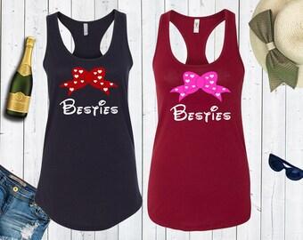Besties Matching Best Friends Disney Tanks. Disney BFFs. Disney Disneyland Matching Tanks. Bridesmaid Shirts. [E0520][E0571,E0601]