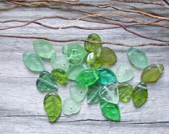 Bohemian Czech green glass leaf 20 beads