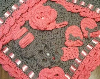 Baby 5 pc Layette Set. NB Crochet. Blanket,Hat, headband,booties,mitts