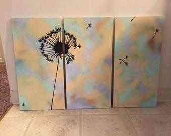 Three piece dandelion triptych original painting, modern, minimal, wall art, home decor