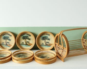 Martinique bambou coaster set - vintage