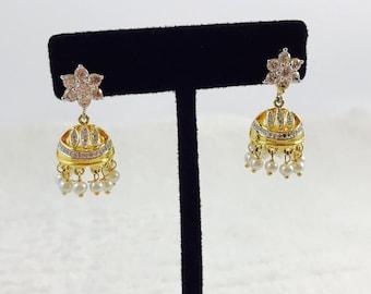 Imitation Rhinestone Small Jhumka Earrings/ Diamond jhumki Earrings/ Bollywood Fashion Jewelry