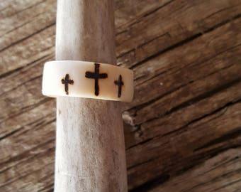 3 cross Elk antler ring