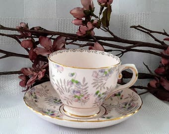 Tuscan Teacup and Saucer Set, Flowers, Made in England