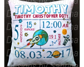 SPACE CARTOON Baby PILLOW-Baby Pillow-Birth Announcement-Nursery Decor-Baby Pillow-Personalized Pillow-New Baby-Birth Stats-Rockets-Cartoon
