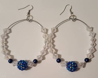 Ladies Large Hoop earrings/chunky/Blue/jewelry