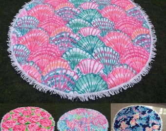 Lilly Inspired Round Beach Towel