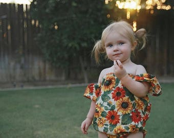 Baby Romper, Off the Shoulder Baby Romper, Baby Thanksgiving Outfit, Sunflower Baby Romper, Toddler Boho Romper, Newborn Boho Outfit,