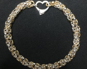 Silver & Gold Butterfly Weave Byzantine Weave Chainmaille Bracelet 4th of July Special Offer