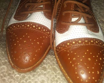 Leather Brown and cream loafers