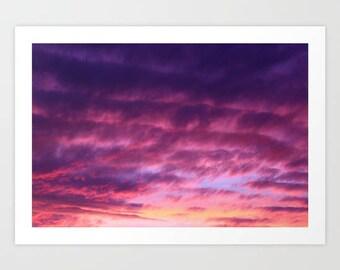 Pink Purple Sky Sunset Art Print, Pink Clouds Wall Art, Pink Sunset Art Print, Pink Bedroom Wall Art, Purple Clouds Wall Art, Pink Sky Art