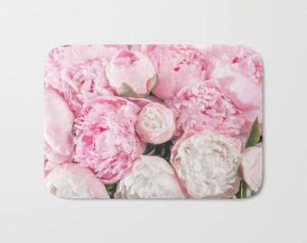 Blush Pink Flowers Bath Mat, Pink Flower Bath Mat, Floral Bathroom, Floral Shower Mat, Floral Bathroom Decor, Pink Bath Decor, Pink Bath Mat