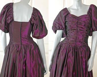 German Vintage Evening Dress, Deep Purple 1980s European Prom Dress, Formal Dance Party Dress: Size 6 US, Size 10 UK