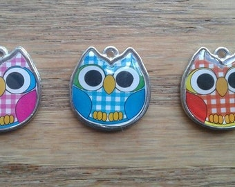 Owl Charms, Colorful Enamel with Silver Tone Finish Pendant Charms x 1    (H-1)