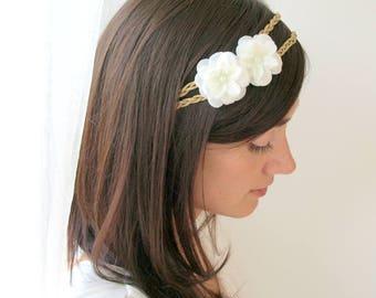 Wedding tiara, bridal headpiece, white flower headpiece, bridal headpiece, flower tiara, wedding headband, wedding crown, flower headband