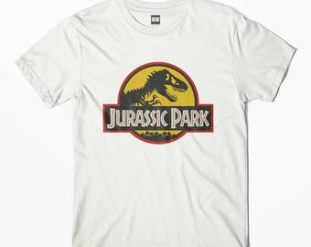 Jurassic Park Yellow White Vintage Look T-Shirt - S M L XL