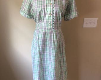 Vintage green plaid cotton day dress with lurex thread/size XL