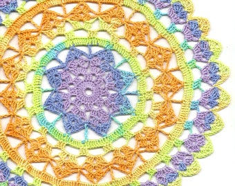 Crochet Doily Lace Doilies Table Decor Crocheted Doily Centerpiece Hand Made Wedding Doily Mandala Dream Catcher Boho Bohemian Round Bright