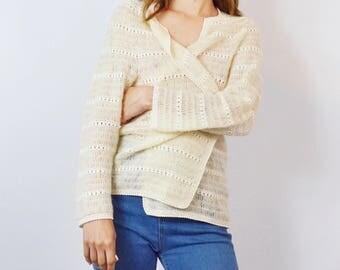 Vintage 1970's Bohemian Crochet Mohair Cardigan Size Small