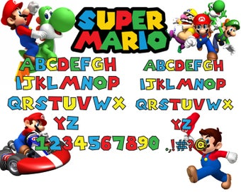 Super mario font svg|Super mario alphabet svg,dxfISuper mario letters svg,dxf,png for Print/Silhouette Cameo/Cricut and Many More