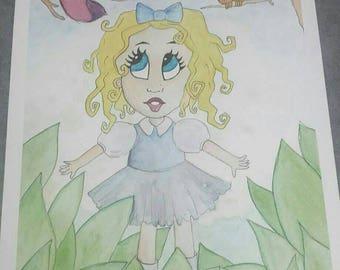Watercolor illustration deviantart alice in Wonderland disney inspired unique handmade