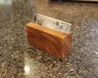 Teak Business Card Holder