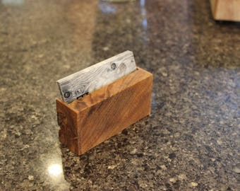 Unique Teak Business Card Holder