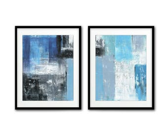 Digital download blue black prints set of 2 printable art instant downloads home decor diptych abstract wall art print abstract painting