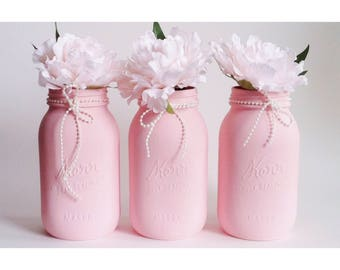 Pink Mason Jars, Pearl Centerpieces, Girl Babyshower Decor, Pink Birthday