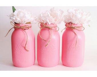 Pink Mason Jars, Pink Centerpieces, Babyshower Decor