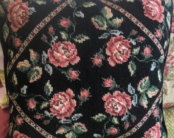 Floral Needlepoint Pillow on Black Background