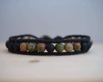 men's wrap, unakite and onyx, terracota, green gemstone bracelet black and khaki