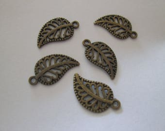 10 charms leaves 18 x 10 mm bronze metal