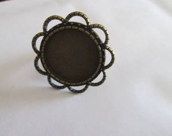 support Adjustable ring bronze cabochon 18 mm