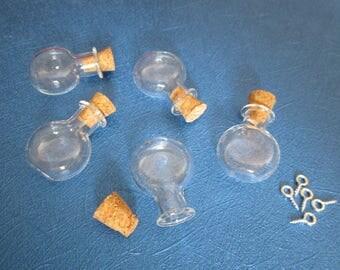 2 vials glass flat 25 x 20 x 6 mm with screw-screw