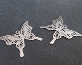 2 prints / charms round Butterfly pattern 25 x 23 mm stainless steel