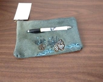 butterfly pencil case made of recycled jeans