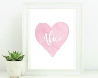 Custom name print, christening gift , new baby gift, personalised nursery decor, personalised name print, new baby gift, girls room decor