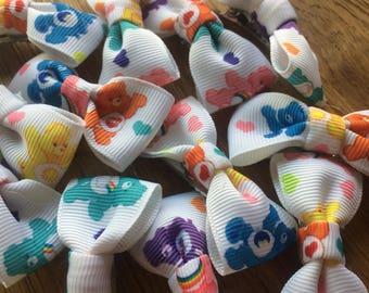 Care bear ribbon hair bow clips