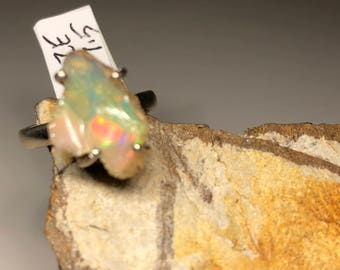 Rough raw Ethiopian welo opal on  sterling silver ring size 7.5
