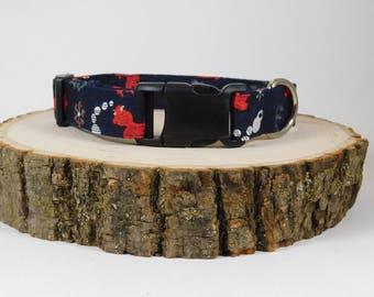 Dog Collar/ Fish Dog Collar/ Collar for Dogs/ Dog Accessories/ Navy Dog Collar/ Fabric Dog Collar