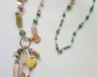 Gemstone and Glass Wirework Necklace