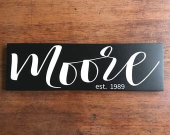 Wood Wedding Sign, Wedding Established Sign, Custom Wedding Gift, Wedding Gift, Last Name Sign, Custom Wedding Signs, Wedding Signs, 5.5x18