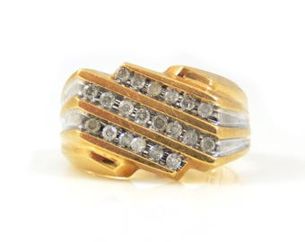 10K Gold Diamond Men's Ring - X4438