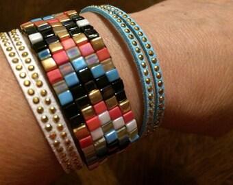 Woven Cuff Bracelet hand made silver beads.