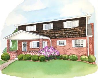 Custom Watercolor House Portait