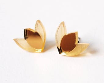 Tulip Stud Earrings in Gold Mirror Acrylic
