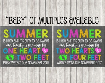 Digital Summer Pregnancy Announcement | Summer Is Here | Baby Announcement | Baby | Twins | Triplets | Season | Family Is Growing