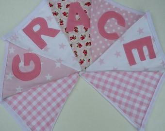 Girl's Personalised Bunting. Handmade pink Fabric Bunting / Garland. Girl's Bedroom Decor.